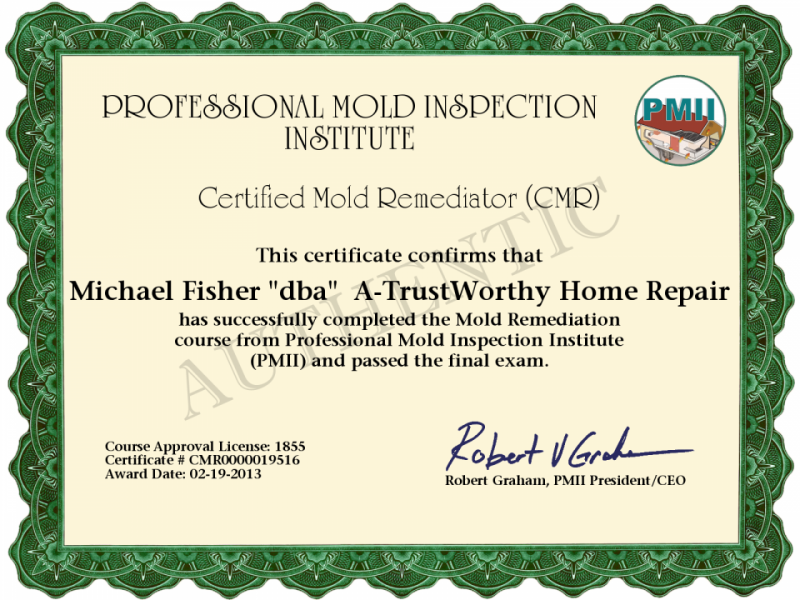 Free Water And Mold Remediation Certificates 65